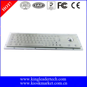 Panel-Mount Flat Keys Metal Keyboard dengan Trackball